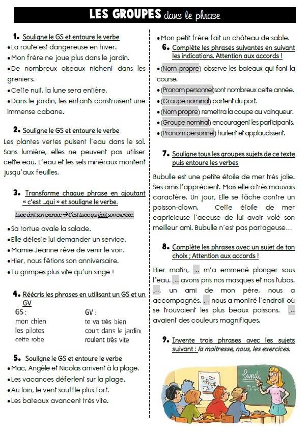 GS, verbes et pronoms personnels Sujet: exercices en autonomie