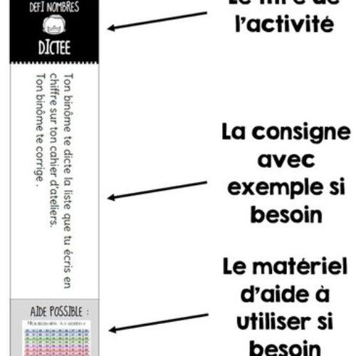 Cartes autonomes pour les ateliers de numération