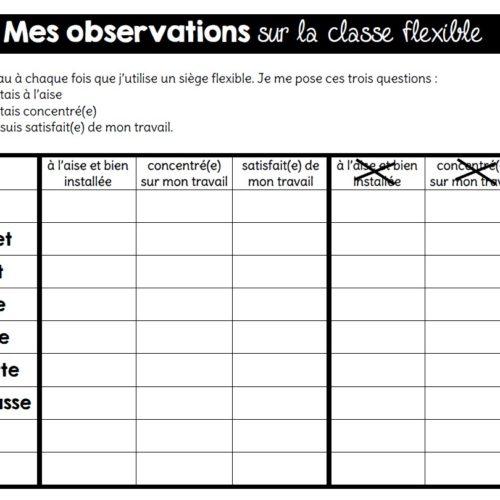 Observation des élèves en classe flexible